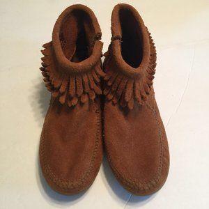 Minnetonka Suede Leather Moccasin Double Fringe